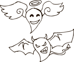 """Наклейка """"ангел и демон рисованные"""""""