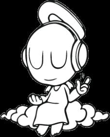 """Наклейка """"ангел под музыкой"""""""