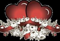"""Наклейка """"Два сердца и цветы"""""""